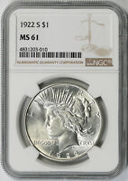 1922-S PEACE DOLLAR $1 MINT STATE 61 NGC