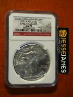 2011 $1 AMERICAN SILVER EAGLE NGC MS70 EARLY RELEASES RED LABEL