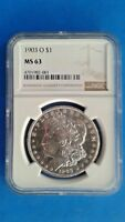 1903 O MORGAN SILVER DOLLAR NGC MINT STATE 63 BRILLIANT LUSTER