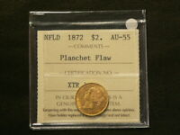 1872 NEWFOUNDLAND $2 GOLD ICCS AU55 PLANCHET FLAW BOOK VALUE $2000  3002