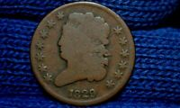1829 HALF CENT  BROWN GOOD OBVERSEVG REVERSE ROTATED ABOUT 20 DEGREES