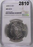 1890 S NGC CERTIFIED MINT STATE 62 STAR MORGAN SILVER DOLLAR DEEP MIRROR PL OBV 2810