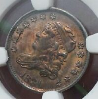 1831 NGC  MINT STATE 62 MINT STATE 62 BUST HALF DIME CERTIFIED CAPPED BUST HALF DIME GREAT COLOR