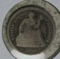 DATE 1860-O LIBERTY SEATED HALF DIME   ORIGINAL COIN