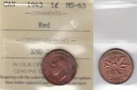 1943 ICCS MS63 1 CENT RED CANADA ONE PENNY
