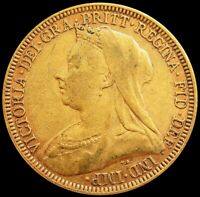 1893 GOLD GREAT BRITAIN SOVEREIGN 7.98 GRAMS MATURE BUST COI