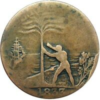 1833 LIBERIA FREED SLAVE COLONY CENT HARD TIMES TOKEN CH 3 V
