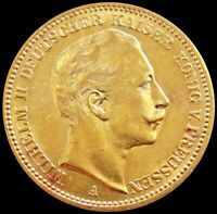 1901 A GOLD GERMAN STATE PRUSSIA 20 MARK 7.965 GRAMS KAISER