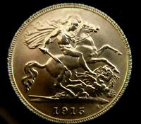 GEORGE V 1/2 GOLD SOVEREIGN 1915 BEAUTIFUL COIN      ITEM 51