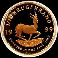 1999 GOLD SOUTH AFRICA PROOF 1/10 OZ KRUGERRAND COIN IN MINT