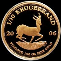 2006 GOLD SOUTH AFRICA PROOF 1/10 OZ KRUGERRAND COIN IN MINT