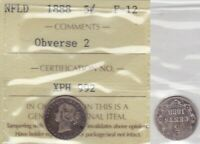 1888 ICCS F12 5 CENTS OBVERSE 2 NEWFOUNDLAND NFLD NF  VARIETY FIVE FISHSCA