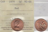 1979 ICCS MS66 1 CENT RED CANADA ONE PENNY