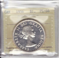 1956 ICCS PL66 $1 CAMEO CANADA ONE DOLLAR SILVER  MINTAGE JUST 6 500