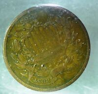 1865  TWO CENTS RE- PUNCHED  DATE