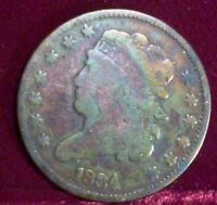 1834 HALF CENT - COIN -FILLED ?