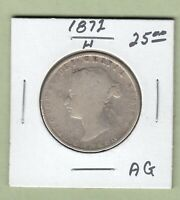 1872-H CANADIAN 50 CENTS SILVER COIN - AG