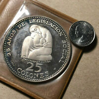 1970 COSTA RICA 25 COLONES SILVER PROOF COIN W/ CASE AND COA