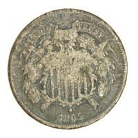1866 SHIELD 2C TWO CENT PIECE GOOD CIRCULATED UNITED STATES COIN 1527