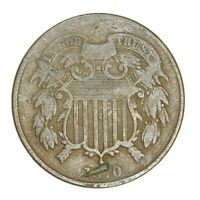 1870 SHIELD 2C TWO CENT PIECE FINE CIRCULATED UNITED STATES COIN  1554