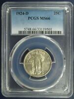 1924-D STANDING LIBERTY QUARTER - PCGS MINT STATE 66 - KEY DATE IN EXCEPTIONAL CONDITION