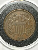 1865 TWO CENT PIECE ABOUT UNCIRCULATED COIN OLD BRONZE COPPER CENTS US COINS