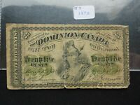 1870 DOMINION OF CANADA 25 CENT PAPER NOTE IN GREAT SHAPE  N