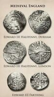 MEDIEVAL ENGLAND. LOT OF 3 SILVER HAMMERED EDWARD III HALFPE