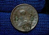 1809 HALF CENT VF DETAILS  COUNTER-STAMPED B S ALSO WITH A FLOWER PATTERN