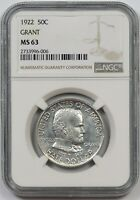 1922 GRANT 50C NGC MINT STATE 63 EARLY SILVER COMMEMORATIVE HALF DOLLAR