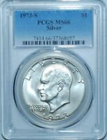 1973 S PCGS MINT STATE 66 SILVER $1 EISENHOWER IKE DOLLAR