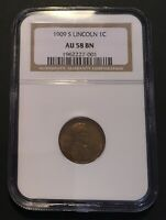 1909 S LINCOLN CENT,  NGC AU58 BN