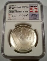 2014-P NGC MS70 BASEBALL HALL OF FAME DAVE WINFIELD SILVER DOLLAR  MS 70 S$1