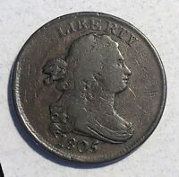 1805 DRAPED BUST HALF CENT H1C SMALL 5 NO STEMS