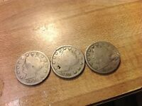 1901, 1905, 1906 LIBERTY HEAD V-NICKEL, 5 CENTS, 3 COINS FOR 1 PRICE