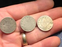 1905, 1906, 1911 LIBERTY HEAD V-NICKEL, 5 CENTS, 3 COINS FOR 1 PRICE