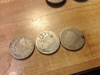 1896, 1899, 1900 LIBERTY HEAD V-NICKEL, 5 CENTS, 3 COINS FOR 1 PRICE