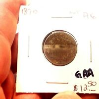 1870 SHIELD NICKEL, DARK BUT GOOD DETAILS,  WHOLESALE ON A G IS $22