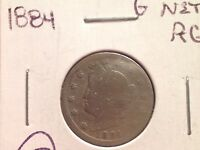 1884 LIBERTY HEAD NICKEL, V-NICKEL, TOUGHER DATE, PRICED AT G WHOLESALE