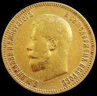 1900 GOLD RUSSIA 10 ROUBLES 8.60 GRAMS NICHOLAS II COIN