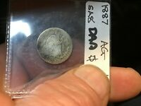 1887 SEATED LIBERTY DIME  -90 SILVER TYPE 4 -  TYPE 4 RESUMED - LEGEND ON OBVE