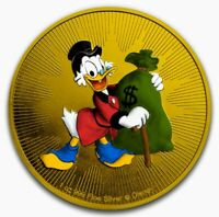 2018 NIUE SCROOGE MCDUCK 24K GOLD GILDED 1OZ .999 SILVER COI