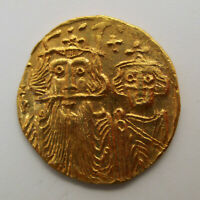 641 668 BYZANTINE CONSTANS II CONSTANTINE IV GOLD COIN SOLID