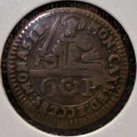 1762 GERMAN STATE OF MUNSTER 6 PFENNING COIN OBVIOUS MINT ER