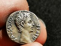 AUGUSTUS 15BC AUTHENTIC ANCIENT SILVER ROMAN COIN BULL OF TH