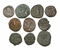 BYZANTINE. LOT OF 10 ALL FOLLIS. VARIETY OF TYPES AND EMPERO