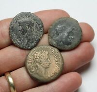 LOT OF 3 LARGE BRONZES. INCLUDES A CLAUDIUS I AS AUGUSTUS PR