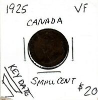 CANADA 1 CENT GEORGE V 1925   F