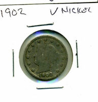 1902 LIBERTY HEAD V NICKEL LIBERTY CIRCULATED US 5 CENT AMERICAN OLD COIN 4789