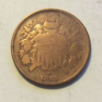 1865 TWO CENT PIECE I-467 CLEANED